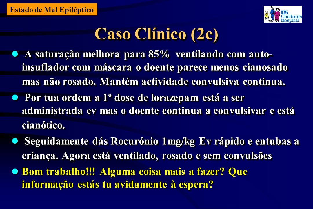 Estado de Mal Epiléptico Caso Clínico (2c) A saturação melhora para 85% ventilando com auto- insuflador com máscara o doente parece menos cianosado mas não rosado.