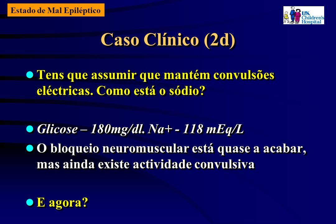 Estado de Mal Epiléptico Caso Clínico (2d) Tens que assumir que mantém convulsões eléctricas.
