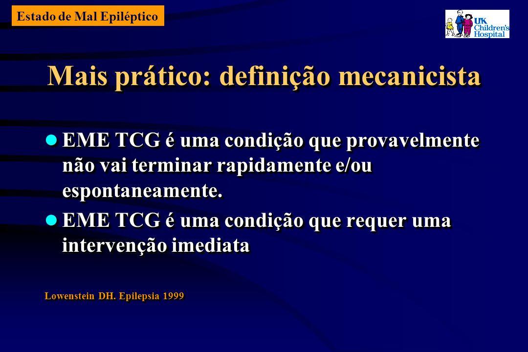 Estado de Mal Epiléptico Mais prático: definição mecanicista EME TCG é uma condição que provavelmente não vai terminar rapidamente e/ou espontaneamente.