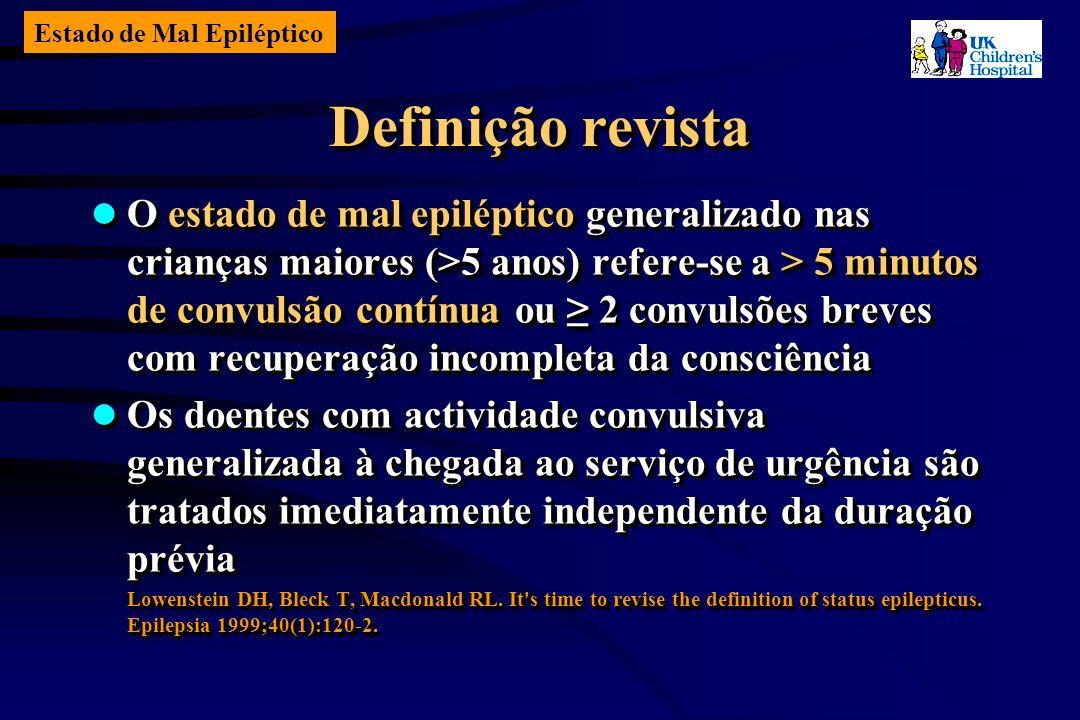 Estado de Mal Epiléptico Definição revista O estado de mal epiléptico generalizado nas crianças maiores (>5 anos) refere-se a > 5 minutos de convulsão contínua ou 2 convulsões breves com recuperação incompleta da consciência O estado de mal epiléptico generalizado nas crianças maiores (>5 anos) refere-se a > 5 minutos de convulsão contínua ou 2 convulsões breves com recuperação incompleta da consciência Os doentes com actividade convulsiva generalizada à chegada ao serviço de urgência são tratados imediatamente independente da duração prévia Os doentes com actividade convulsiva generalizada à chegada ao serviço de urgência são tratados imediatamente independente da duração prévia Lowenstein DH, Bleck T, Macdonald RL.