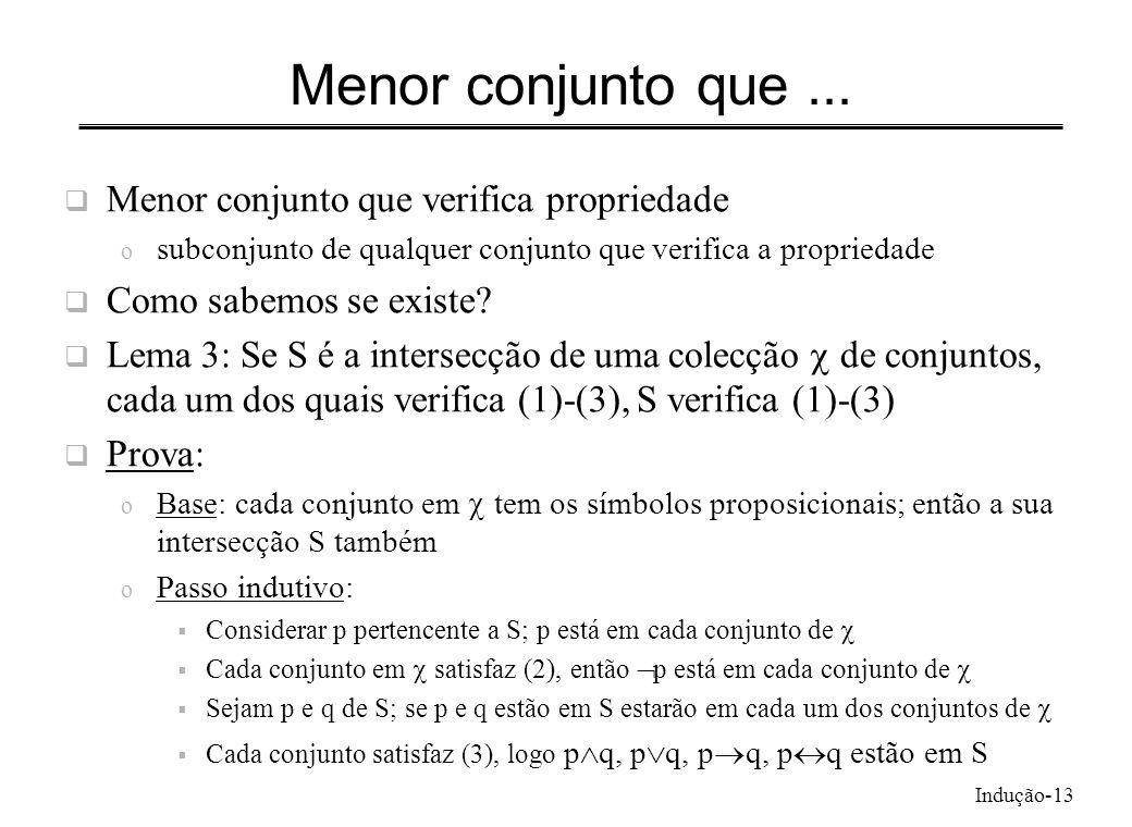 Indução-13 Menor conjunto que... Menor conjunto que verifica propriedade o subconjunto de qualquer conjunto que verifica a propriedade Como sabemos se