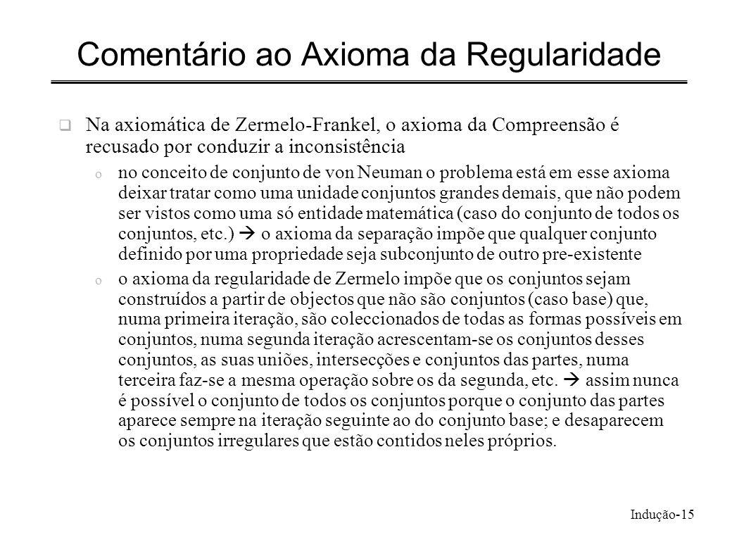 Indução-15 Comentário ao Axioma da Regularidade Na axiomática de Zermelo-Frankel, o axioma da Compreensão é recusado por conduzir a inconsistência o n