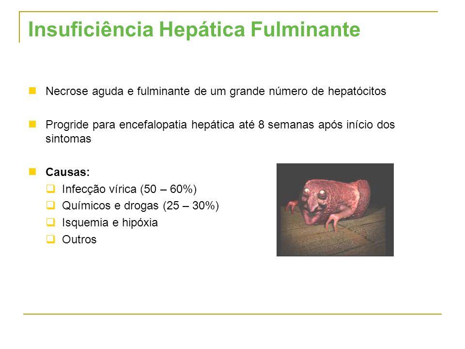 Insuficiência Hepática Fulminante Necrose aguda e fulminante de um grande número de hepatócitos Progride para encefalopatia hepática até 8 semanas apó