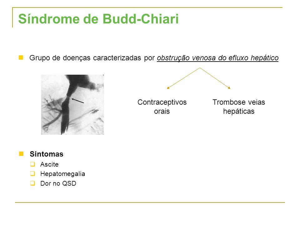 Síndrome de Budd-Chiari Grupo de doenças caracterizadas por obstrução venosa do efluxo hepático Contraceptivos orais Trombose veias hepáticas Sintomas