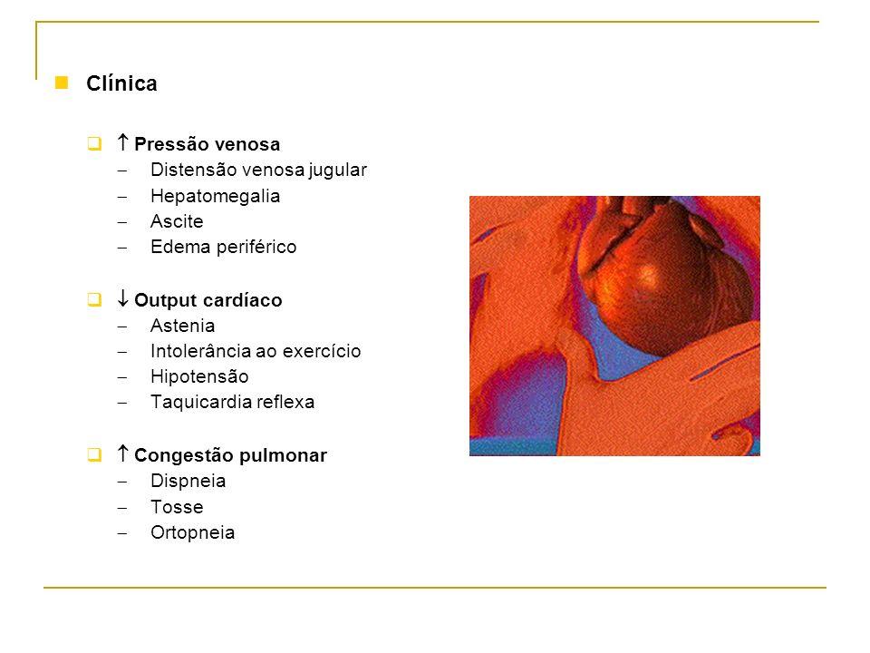 Clínica Pressão venosa Distensão venosa jugular Hepatomegalia Ascite Edema periférico Output cardíaco Astenia Intolerância ao exercício Hipotensão Taq