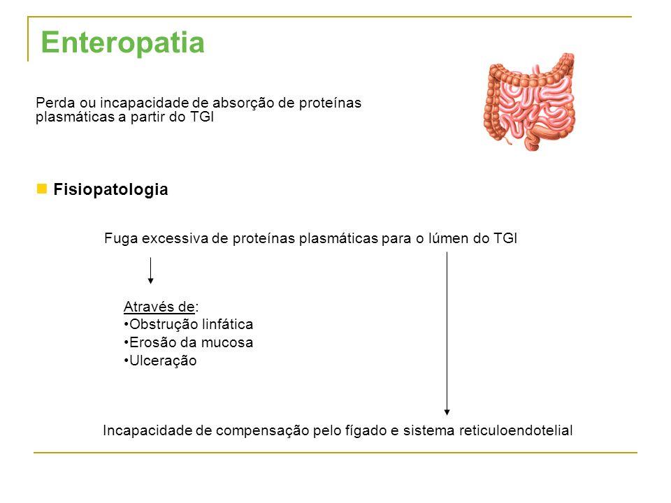 Enteropatia Perda ou incapacidade de absorção de proteínas plasmáticas a partir do TGI Fisiopatologia Incapacidade de compensação pelo fígado e sistem