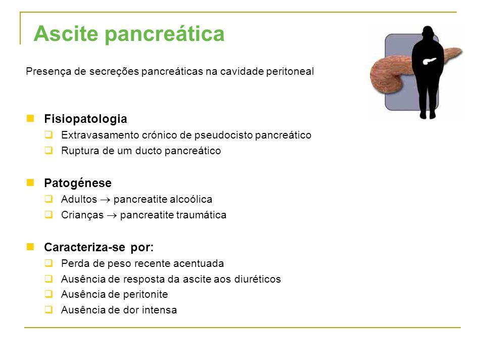 Ascite pancreática Presença de secreções pancreáticas na cavidade peritoneal Fisiopatologia Extravasamento crónico de pseudocisto pancreático Ruptura