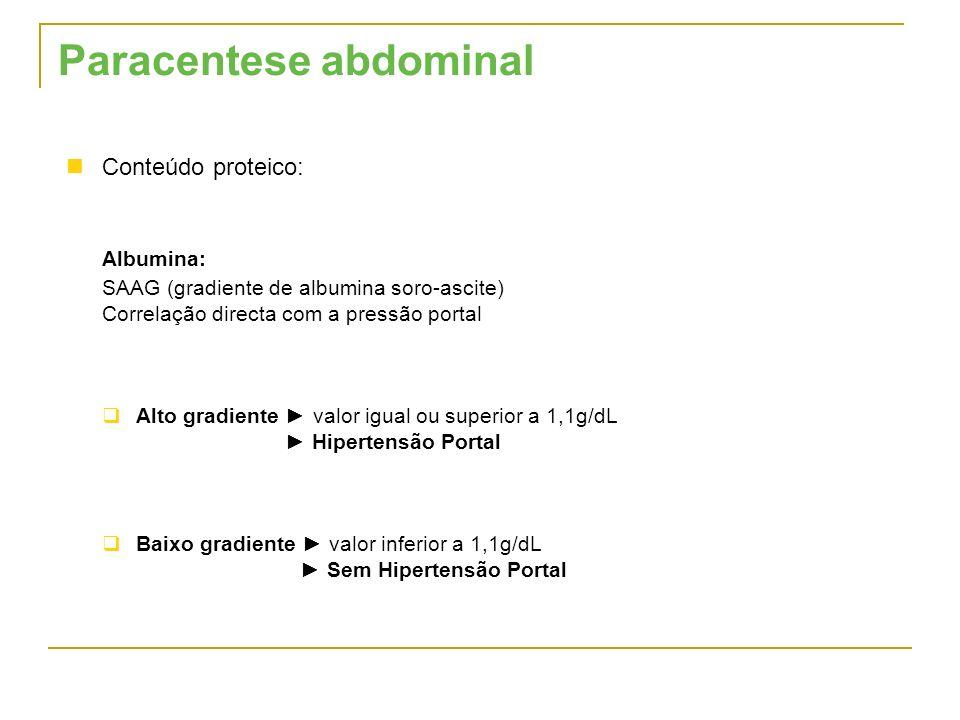 Conteúdo proteico: Albumina: SAAG (gradiente de albumina soro-ascite) Correlação directa com a pressão portal Alto gradiente valor igual ou superior a