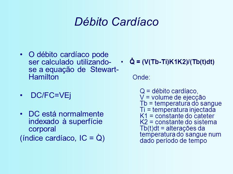 Débito Cardíaco O débito cardíaco pode ser calculado utilizando- se a equação de Stewart- Hamilton DC/FC=VEj DC está normalmente indexado à superfície