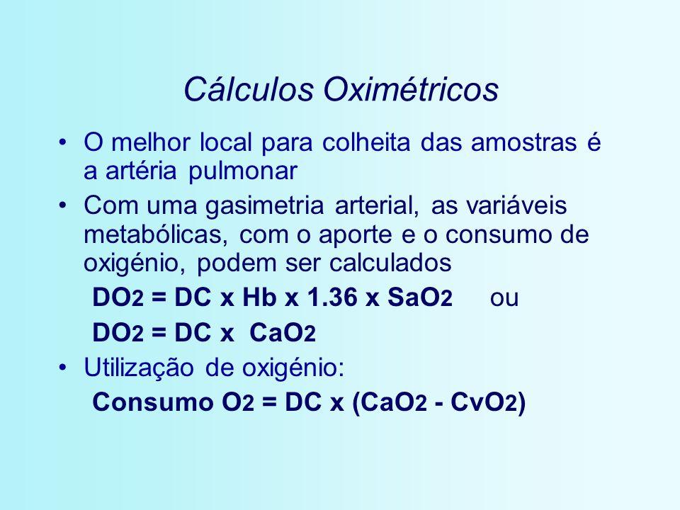 Cálculos Oximétricos O melhor local para colheita das amostras é a artéria pulmonar Com uma gasimetria arterial, as variáveis metabólicas, com o aport