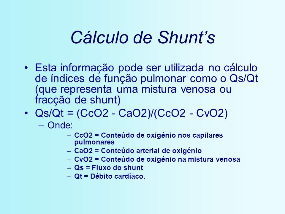Cálculo de Shunts Esta informação pode ser utilizada no cálculo de índices de função pulmonar como o Qs/Qt (que representa uma mistura venosa ou fracç