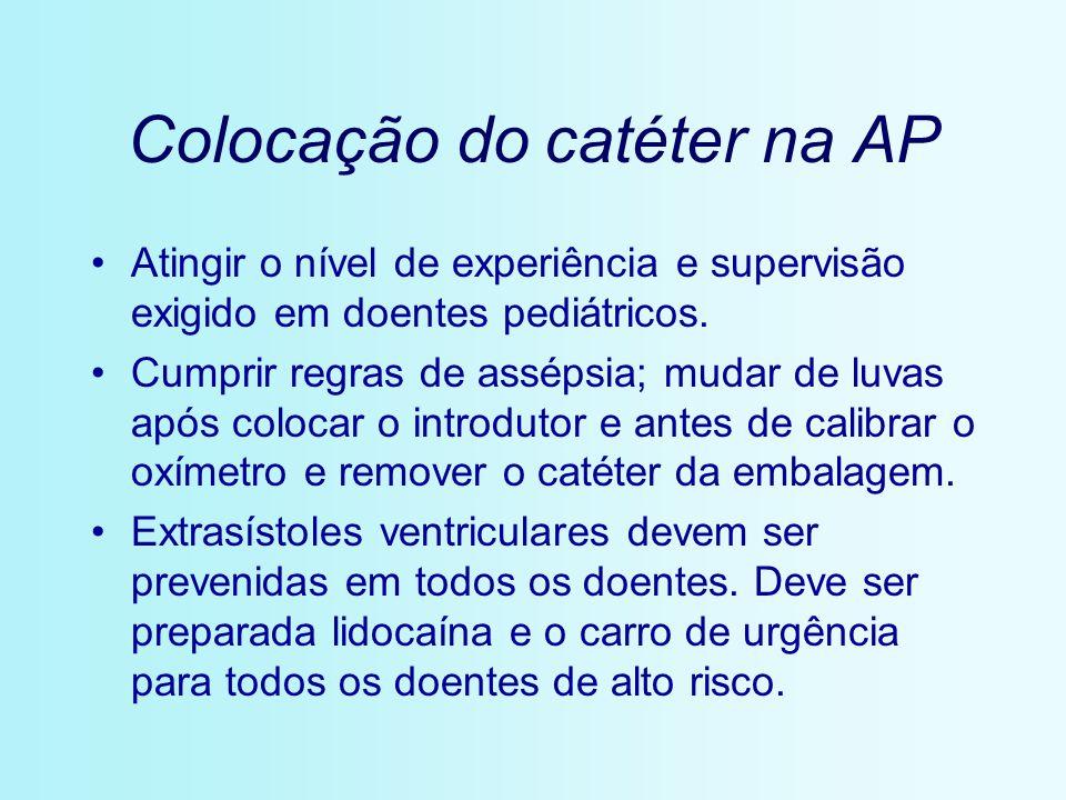 Colocação do catéter na AP Atingir o nível de experiência e supervisão exigido em doentes pediátricos. Cumprir regras de assépsia; mudar de luvas após
