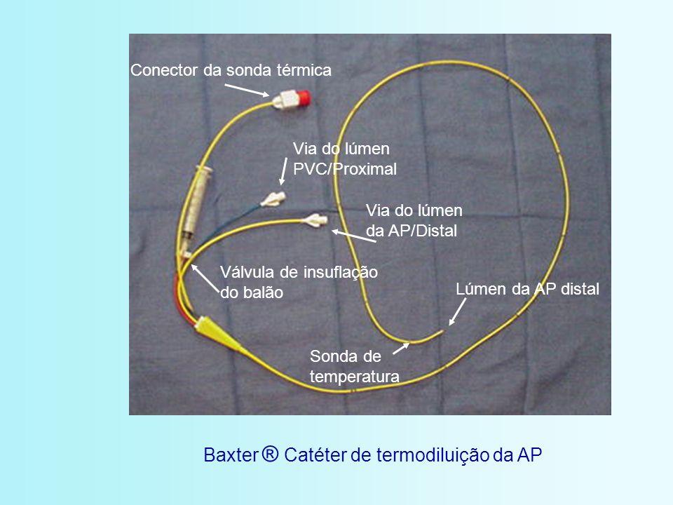 Lúmen da AP distal Conector da sonda térmica Via do lúmen PVC/Proximal Via do lúmen da AP/Distal Válvula de insuflação do balão Baxter ® Catéter de te