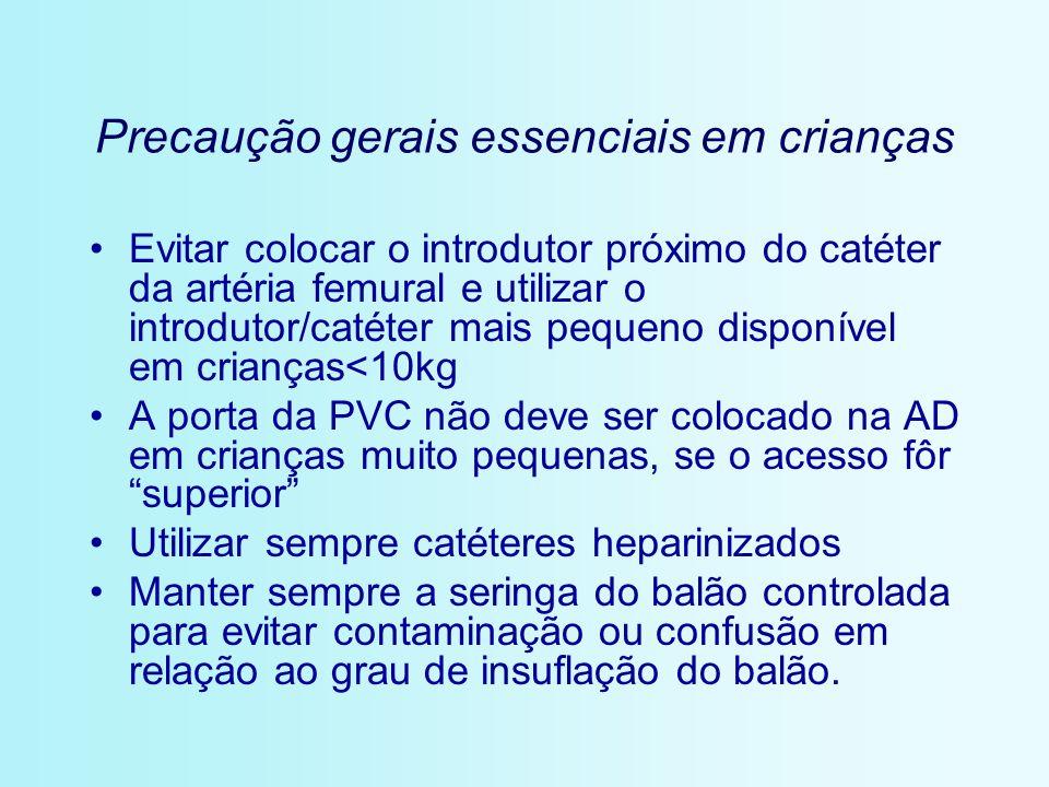 Precaução gerais essenciais em crianças Evitar colocar o introdutor próximo do catéter da artéria femural e utilizar o introdutor/catéter mais pequeno