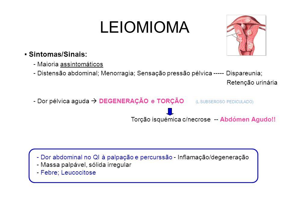 LEIOMIOMA Sintomas/Sinais: - Maioria assintomáticos - Distensão abdominal; Menorragia; Sensação pressão pélvica ----- Dispareunia; Retenção urinária - Dor pélvica aguda DEGENERAÇÃO e TORÇÃO Torção isquémica c/necrose -- Abdómen Agudo!.