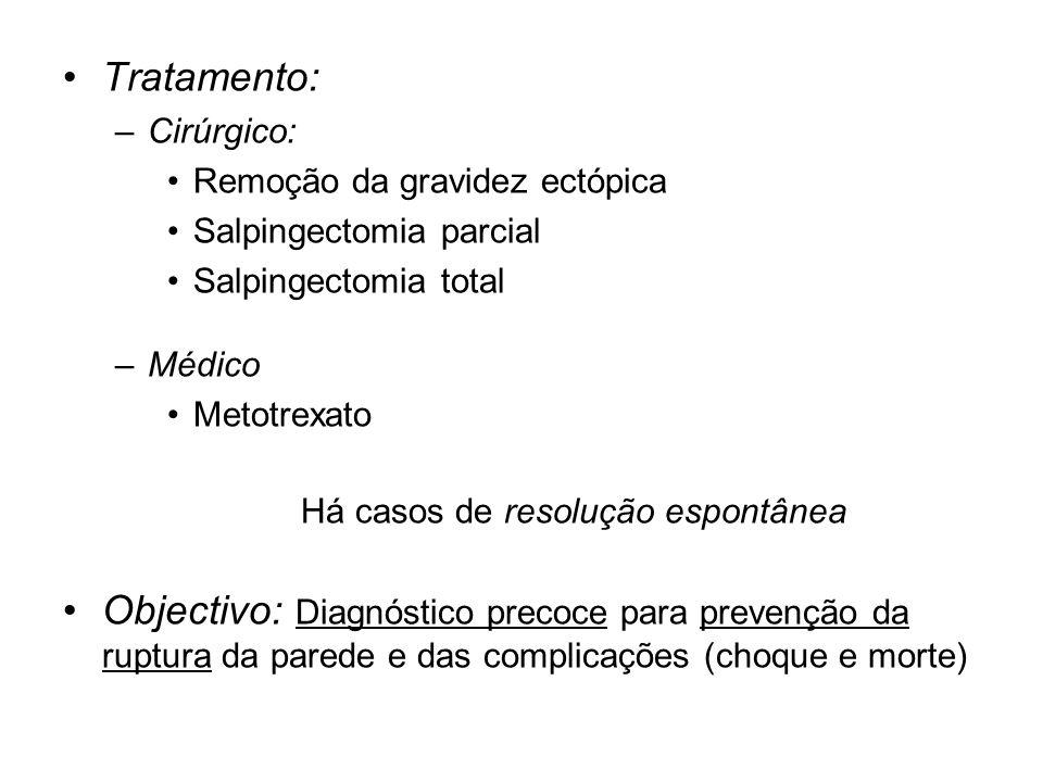 Tratamento: –Cirúrgico: Remoção da gravidez ectópica Salpingectomia parcial Salpingectomia total –Médico Metotrexato Há casos de resolução espontânea Objectivo: Diagnóstico precoce para prevenção da ruptura da parede e das complicações (choque e morte)
