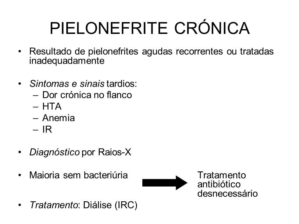 PIELONEFRITE CRÓNICA Resultado de pielonefrites agudas recorrentes ou tratadas inadequadamente Sintomas e sinais tardios: –Dor crónica no flanco –HTA –Anemia –IR Diagnóstico por Raios-X Maioria sem bacteriúriaTratamento antibiótico desnecessário Tratamento: Diálise (IRC)