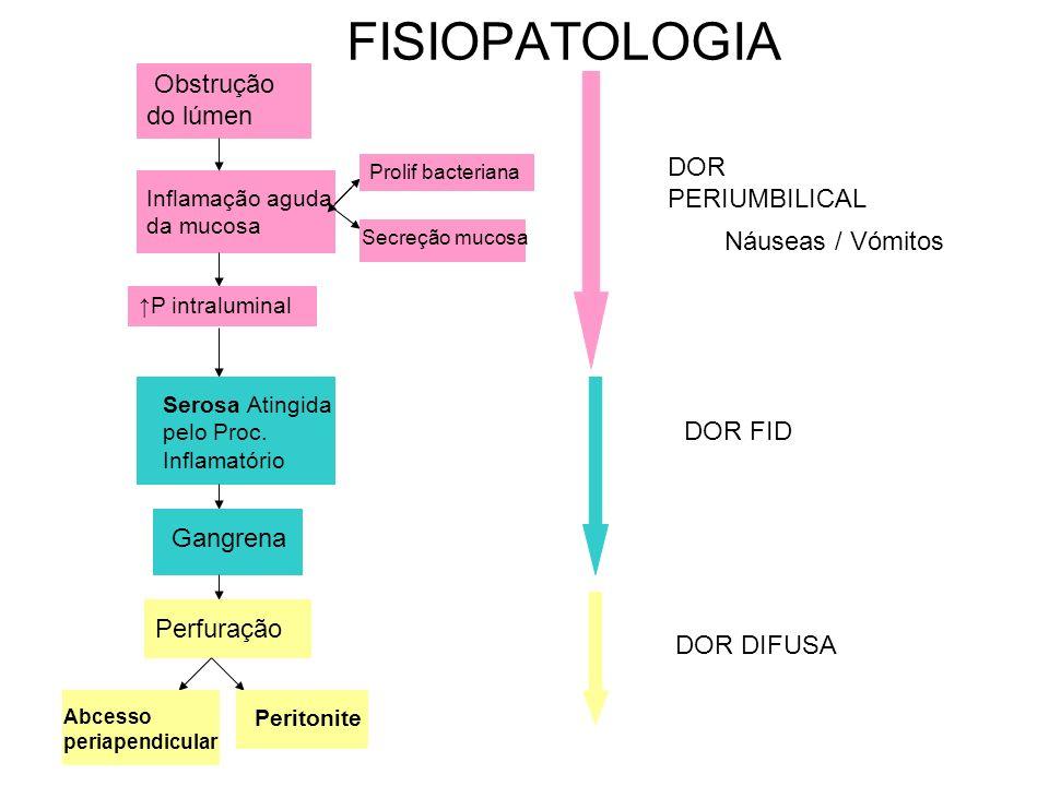 ETIOLOGIA Obstrução do estreito lúmen do apêndice por: - Hiperplasia do tecido linfóide- + crianças e adolescentes (60%) - Fecalitos- + adultos - Bandas Fibróticas - Parasitas - Corpos estranhos - Cálculos Biliares - Torção do Apêndice - Doença Crohn - Neoplasias