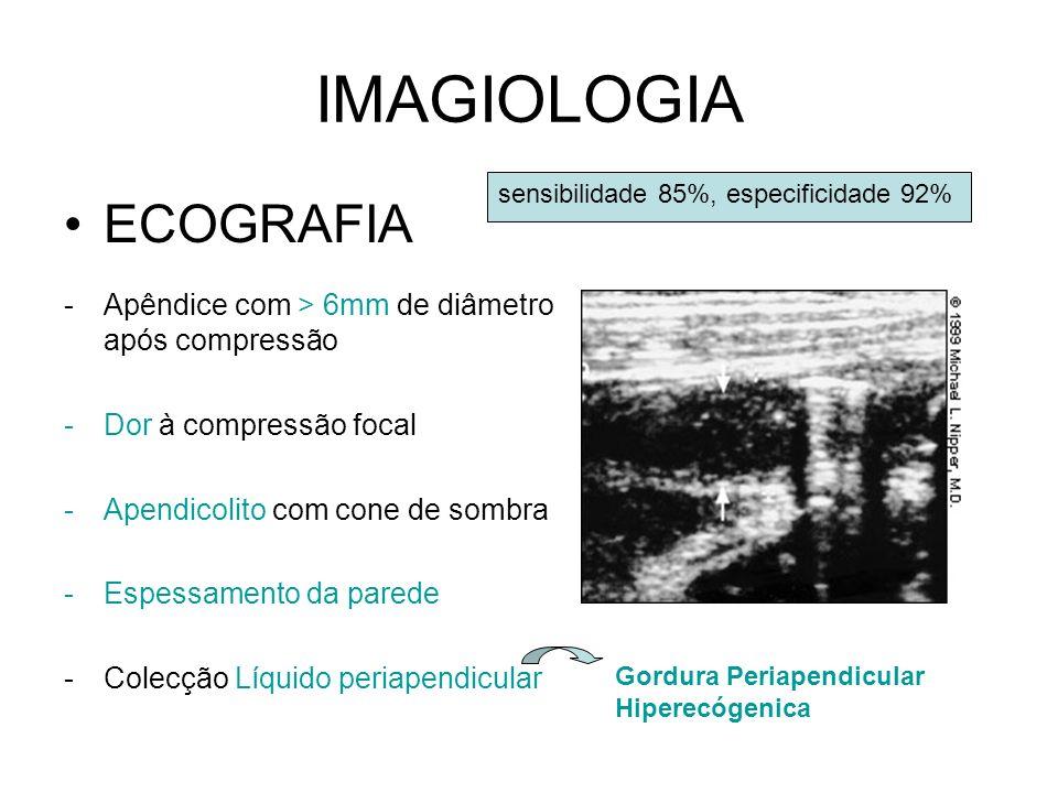 IMAGIOLOGIA ECOGRAFIA -Apêndice com > 6mm de diâmetro após compressão -Dor à compressão focal -Apendicolito com cone de sombra -Espessamento da parede -Colecção Líquido periapendicular sensibilidade 85%, especificidade 92% Gordura Periapendicular Hiperecógenica