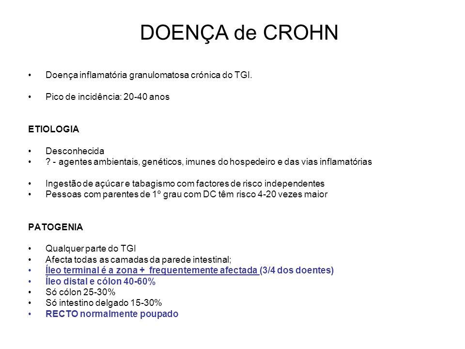 DOENÇA INFLAMATÓRIA INTESTINAL Doença inflamatória intestinal idiopática crónica 2 tipos: colite ulcerosa e doença de Crohn
