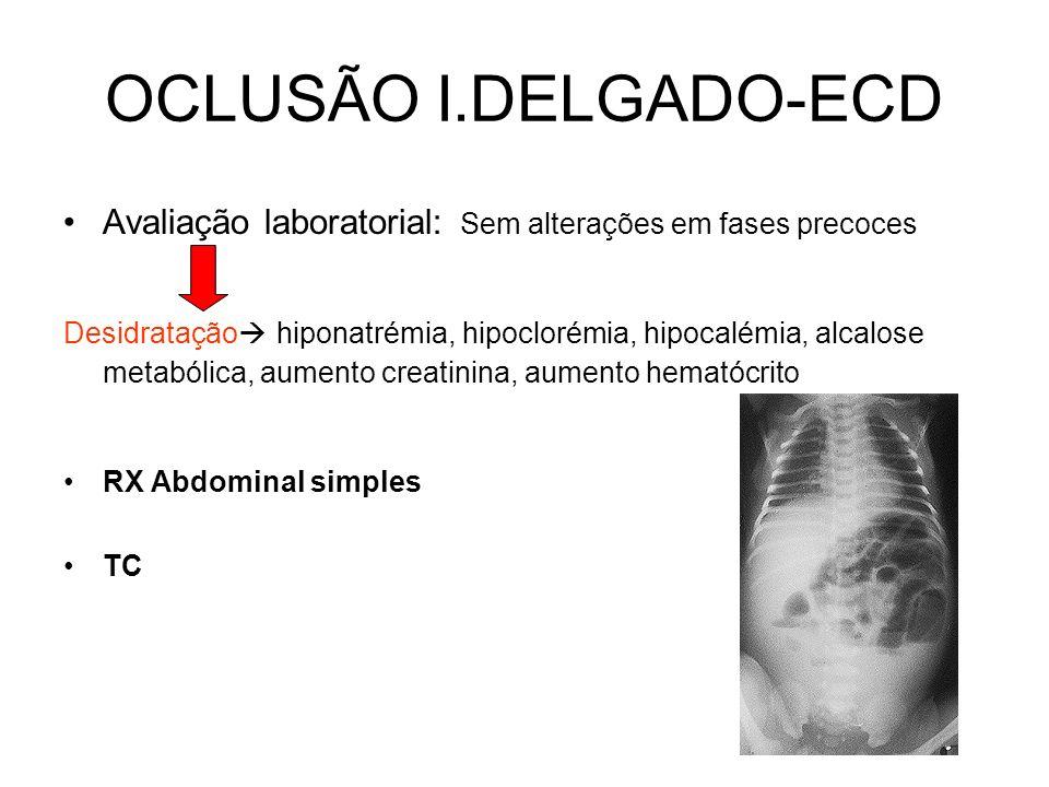 OCLUSÃO I.DELGADO- Clínica Sintomas: Dor abdominal aguda em cólica periumbilical, associada a náuseas e vómitos, obstipação Sinais: Inspecção: Distensão abdominal + cicatrizes+ hérnias+ sinais desidratação+ peristaltismo visível Auscultação: aumento ruídos hidroaéreos+ sons timbre metálico Percussâo: aumento áreas de timpanismo Palpação: Dor à palpação; ver se há sinais irritação peritoneal Complicação: Isquemia intestinal e Perfuração