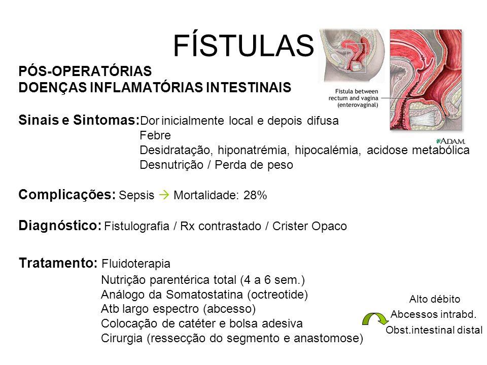 FÍSTULAS PÓS-OPERATÓRIAS DOENÇAS INFLAMATÓRIAS INTESTINAIS Sinais e Sintomas: Dor inicialmente local e depois difusa Febre Desidratação, hiponatrémia, hipocalémia, acidose metabólica Desnutrição / Perda de peso Complicações: Sepsis Mortalidade: 28% Diagnóstico: Fistulografia / Rx contrastado / Crister Opaco Tratamento: Fluidoterapia Nutrição parentérica total (4 a 6 sem.) Análogo da Somatostatina (octreotide) Atb largo espectro (abcesso) Colocação de catéter e bolsa adesiva Cirurgia (ressecção do segmento e anastomose) Alto débito Abcessos intrabd.
