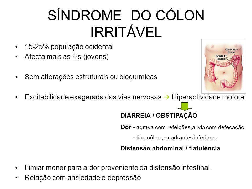 FÍSTULAS PÓS-OPERATÓRIAS DOENÇAS INFLAMATÓRIAS INTESTINAIS Sinais e Sintomas: Dor inicialmente local e depois difusa Febre Desidratação, hiponatrémia,
