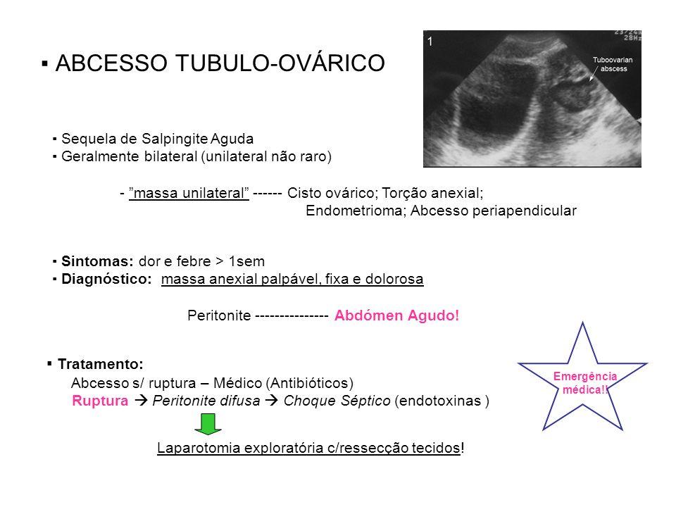 SALPINGITE/SALPINGO-OOFORITE/ENDOMETRITE *DIP silenciosa – gravidez ectópica/infertilidade (Chlamydia) Dx Diferencial: Apendicite Aguda; Dç Diverticular; Gastroenterite; Gravidez ectópica; Inf.