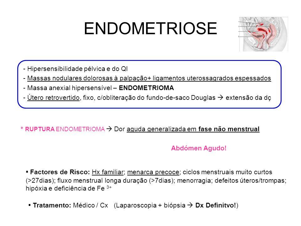 ENDOMETRIOSE - Hipersensibilidade pélvica e do QI - Massas nodulares dolorosas à palpação+ ligamentos uterossagrados espessados - Massa anexial hipersensível – ENDOMETRIOMA - Útero retrovertido, fixo, c/obliteração do fundo-de-saco Douglas extensão da dç * RUPTURA ENDOMETRIOMA Dor aguda generalizada em fase não menstrual Abdómen Agudo.