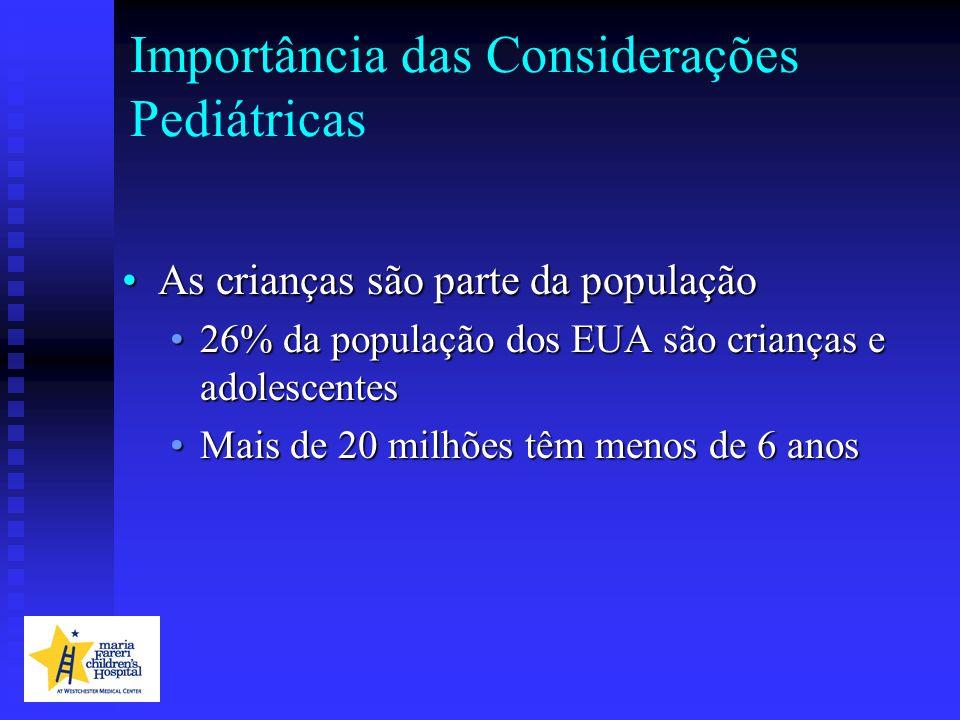 Importância das Considerações Pediátricas As crianças são parte da populaçãoAs crianças são parte da população 26% da população dos EUA são crianças e