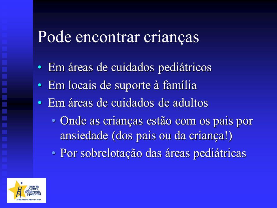 Pode encontrar crianças Em áreas de cuidados pediátricosEm áreas de cuidados pediátricos Em locais de suporte à famíliaEm locais de suporte à família