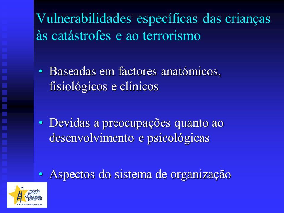 Vulnerabilidades específicas das crianças às catástrofes e ao terrorismo Baseadas em factores anatómicos, fisiológicos e clínicosBaseadas em factores