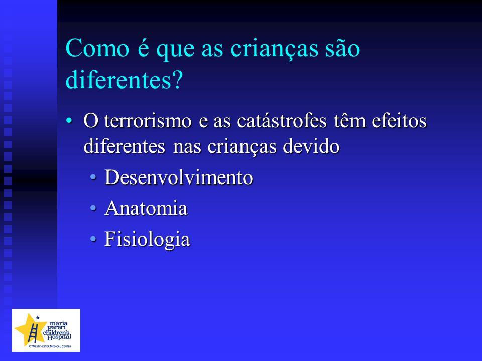 Como é que as crianças são diferentes? O terrorismo e as catástrofes têm efeitos diferentes nas crianças devidoO terrorismo e as catástrofes têm efeit