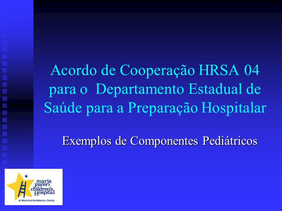Acordo de Cooperação HRSA 04 para o Departamento Estadual de Saúde para a Preparação Hospitalar Exemplos de Componentes Pediátricos