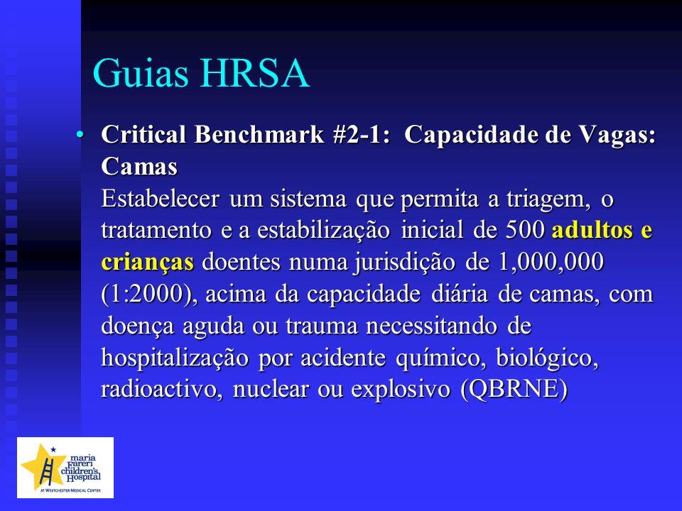 Guias HRSA Critical Benchmark #2-1: Capacidade de Vagas: Camas Estabelecer um sistema que permita a triagem, o tratamento e a estabilização inicial de