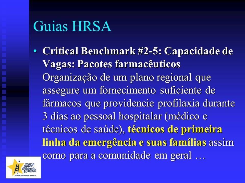Guias HRSA Critical Benchmark #2-5: Capacidade de Vagas: Pacotes farmacêuticos Organização de um plano regional que assegure um fornecimento suficient
