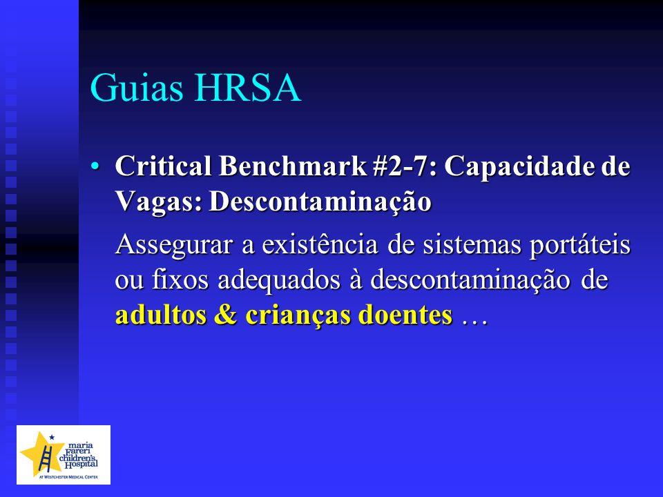 Guias HRSA Critical Benchmark #2-7: Capacidade de Vagas: DescontaminaçãoCritical Benchmark #2-7: Capacidade de Vagas: Descontaminação Assegurar a exis