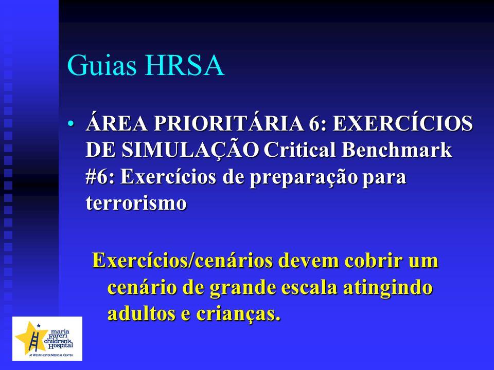 Guias HRSA ÁREA PRIORITÁRIA 6: EXERCÍCIOS DE SIMULAÇÃO Critical Benchmark #6: Exercícios de preparação para terrorismoÁREA PRIORITÁRIA 6: EXERCÍCIOS D