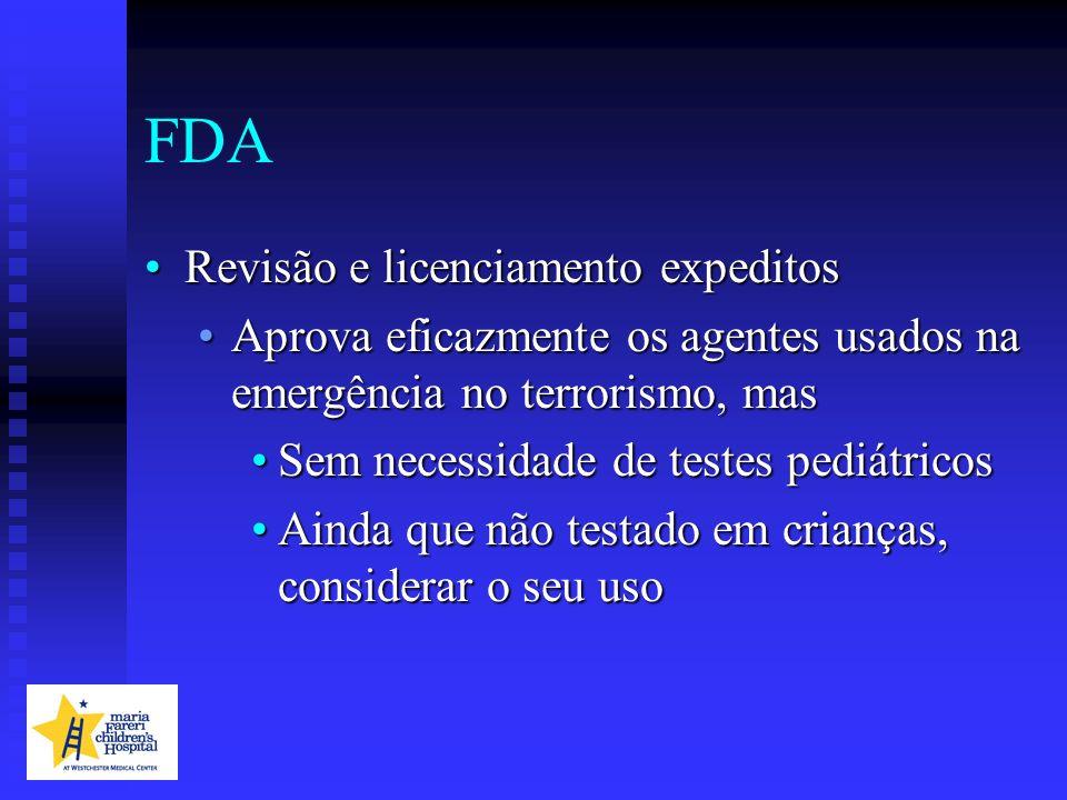 FDA Revisão e licenciamento expeditosRevisão e licenciamento expeditos Aprova eficazmente os agentes usados na emergência no terrorismo, masAprova efi