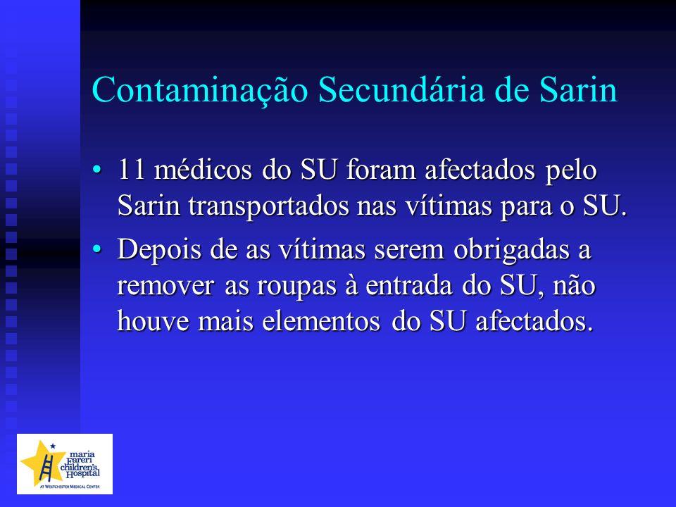 Contaminação Secundária de Sarin 11 médicos do SU foram afectados pelo Sarin transportados nas vítimas para o SU.11 médicos do SU foram afectados pelo