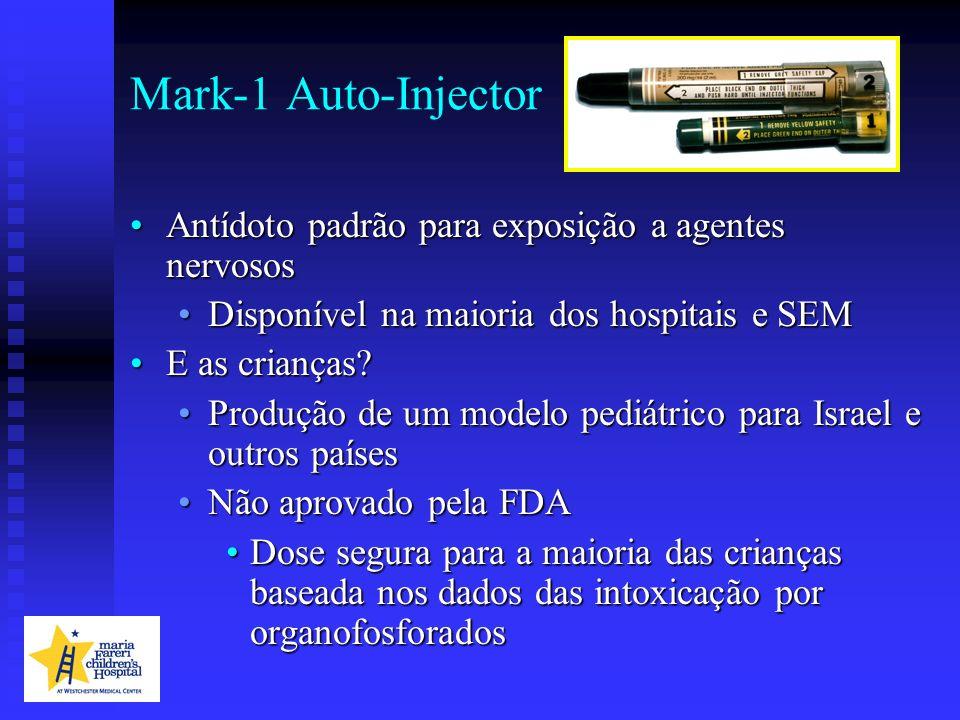 Mark-1 Auto-Injector Antídoto padrão para exposição a agentes nervososAntídoto padrão para exposição a agentes nervosos Disponível na maioria dos hosp