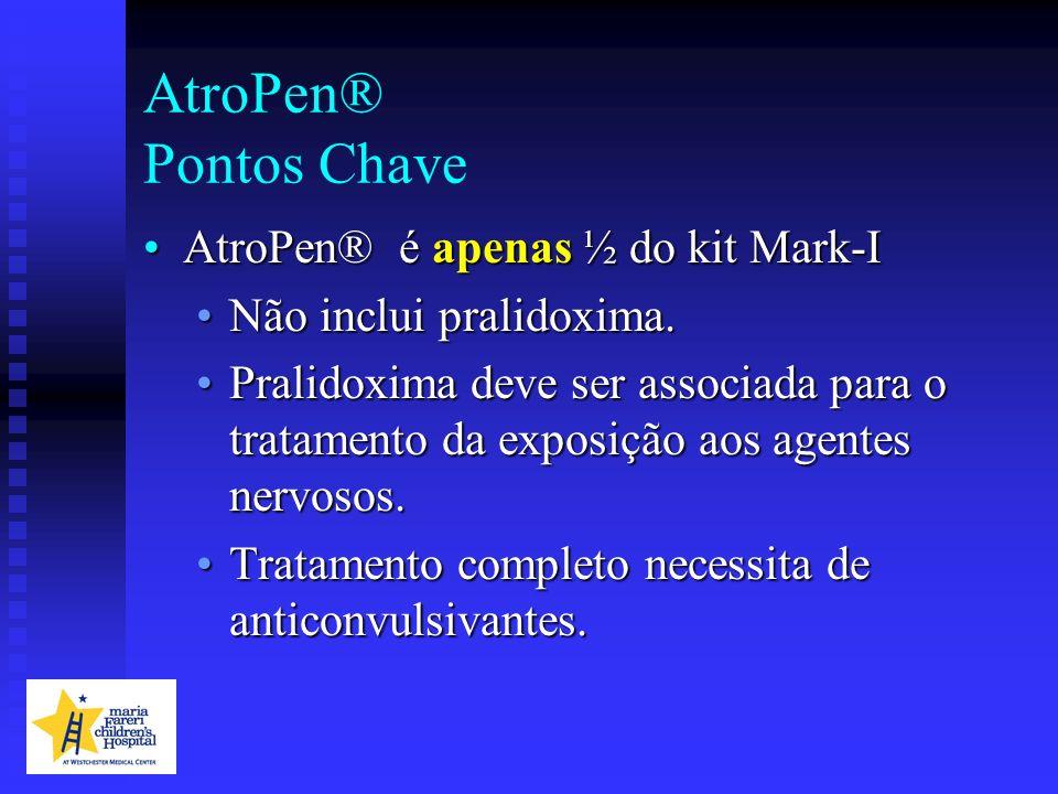 AtroPen® Pontos Chave AtroPen® é apenas ½ do kit Mark-IAtroPen® é apenas ½ do kit Mark-I Não inclui pralidoxima.Não inclui pralidoxima. Pralidoxima de