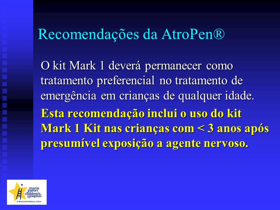 Recomendações da AtroPen® O kit Mark 1 deverá permanecer como tratamento preferencial no tratamento de emergência em crianças de qualquer idade. Esta