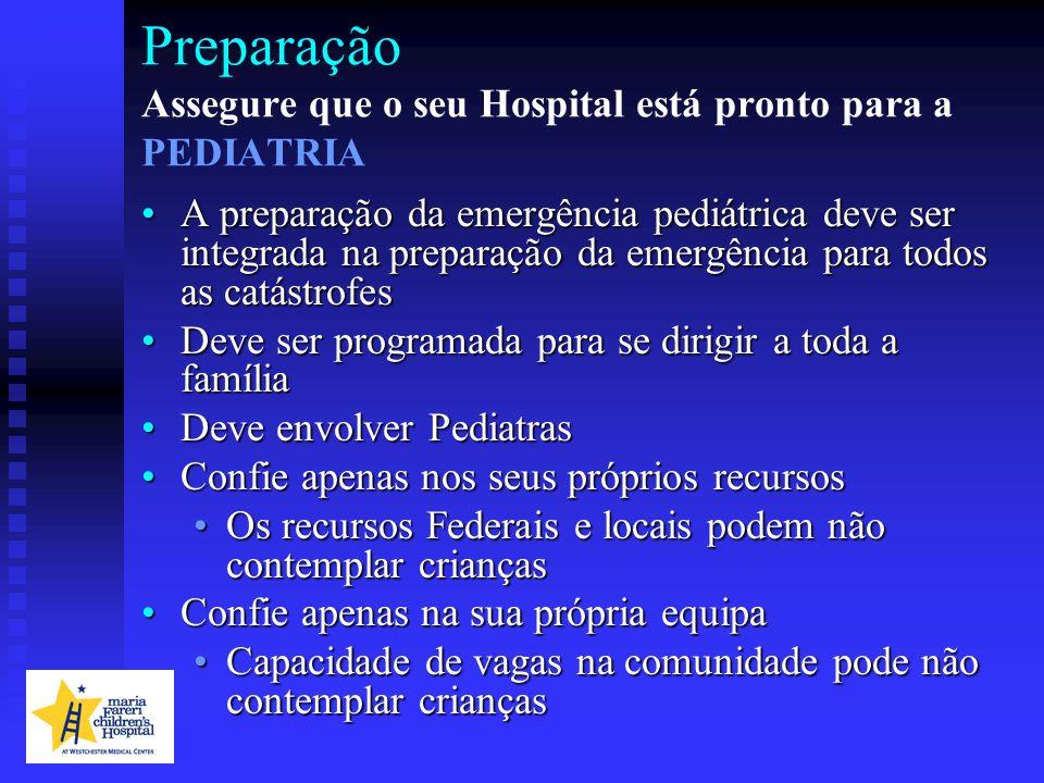 Preparação Assegure que o seu Hospital está pronto para a PEDIATRIA A preparação da emergência pediátrica deve ser integrada na preparação da emergênc