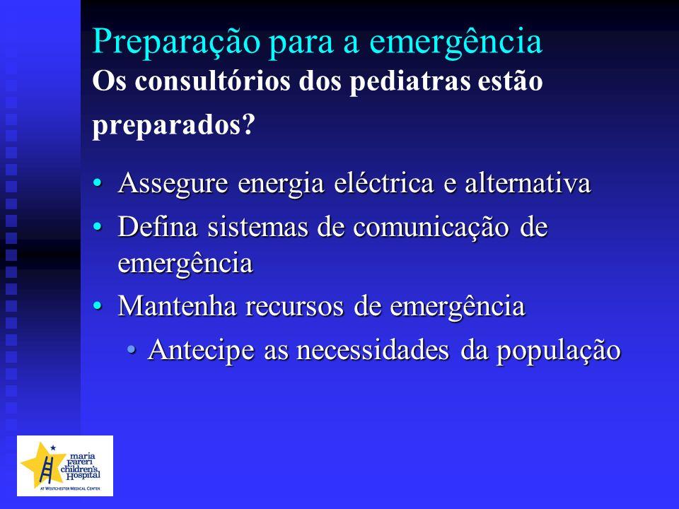 Preparação para a emergência Os consultórios dos pediatras estão preparados? Assegure energia eléctrica e alternativaAssegure energia eléctrica e alte