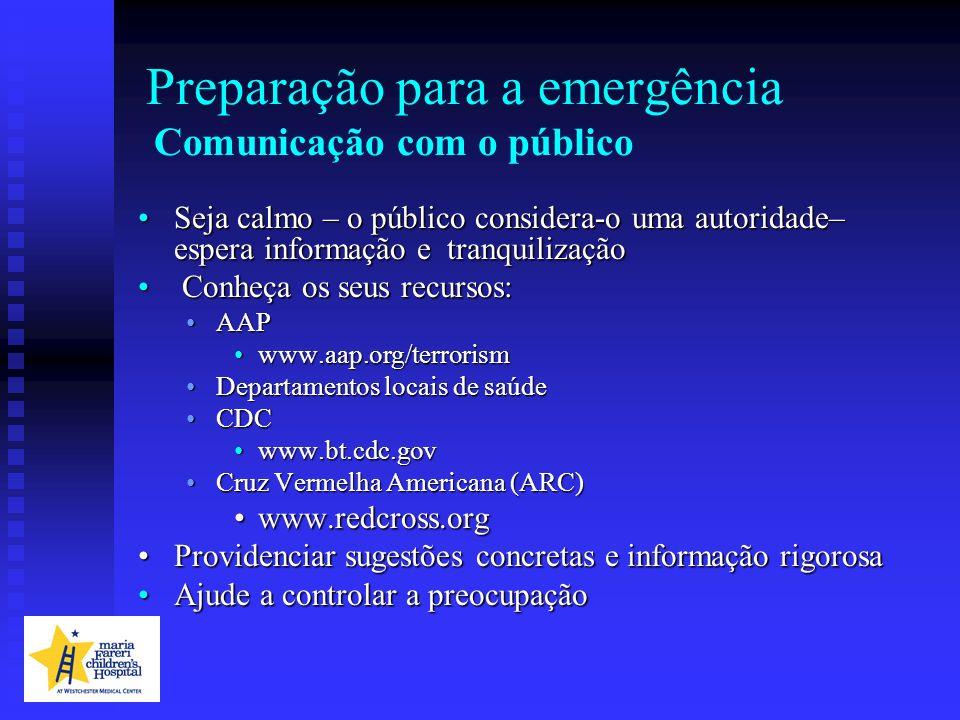 Seja calmo – o público considera-o uma autoridade– espera informação e tranquilizaçãoSeja calmo – o público considera-o uma autoridade– espera informa