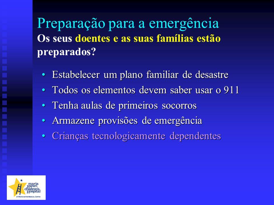 Preparação para a emergência Os seus doentes e as suas famílias estão preparados? Estabelecer um plano familiar de desastreEstabelecer um plano famili