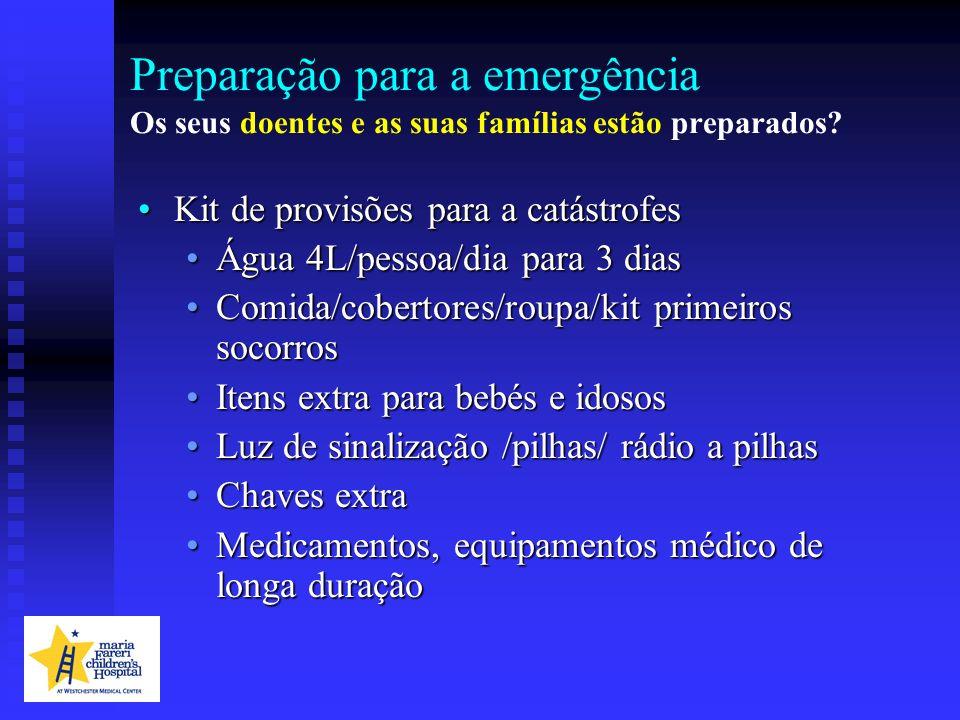 Preparação para a emergência Os seus doentes e as suas famílias estão preparados? Kit de provisões para a catástrofesKit de provisões para a catástrof