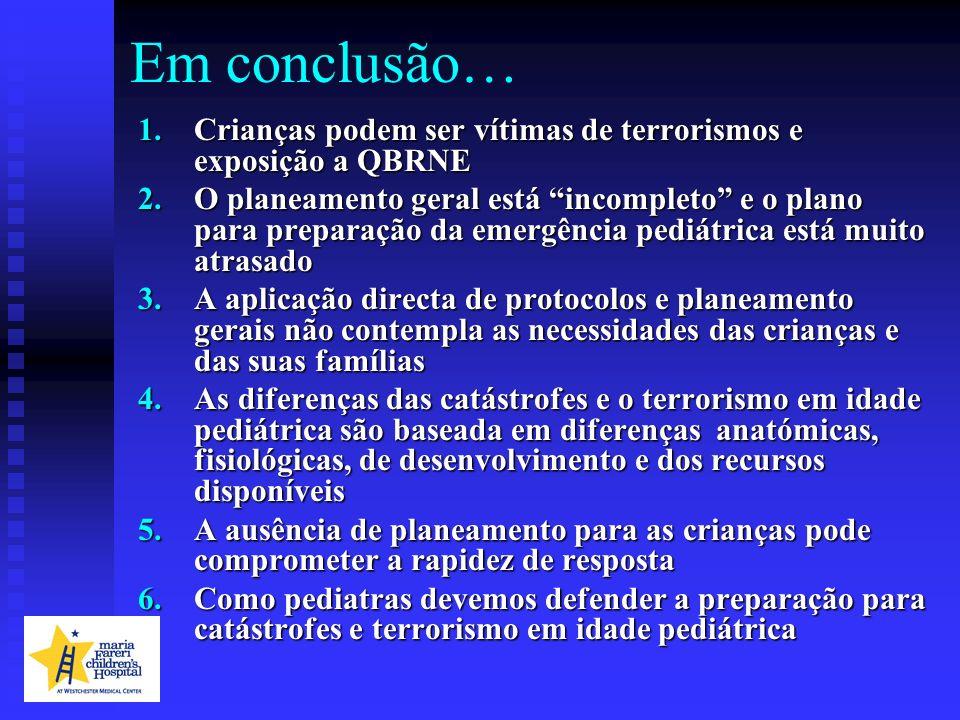 Em conclusão… 1.Crianças podem ser vítimas de terrorismos e exposição a QBRNE 2.O planeamento geral está incompleto e o plano para preparação da emerg