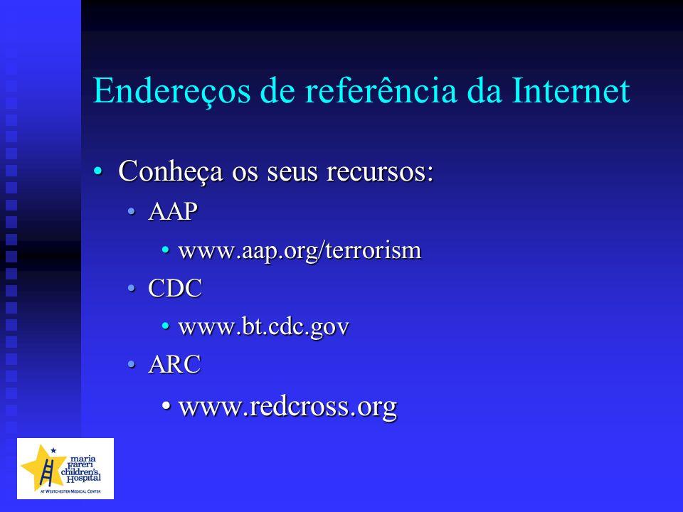 Endereços de referência da Internet Conheça os seus recursos:Conheça os seus recursos: AAPAAP www.aap.org/terrorismwww.aap.org/terrorism CDCCDC www.bt